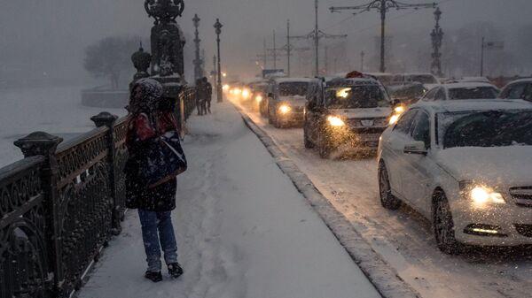 Девушка на Троицком мосту во время снегопада в Санкт-Петербурге
