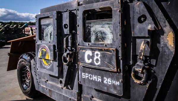 Бронеавтомобиль на базе внедорожника Hummer, представленный на выставке оружия, захваченного у боевиков в Сирии, в рамках IV Международного военно-технического форума Армия-2018 в Кубинке