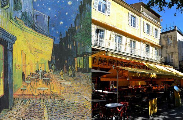 Картина Винсента ван Гога Ночная терраса кафе и кафе-протип в Арле, Франция