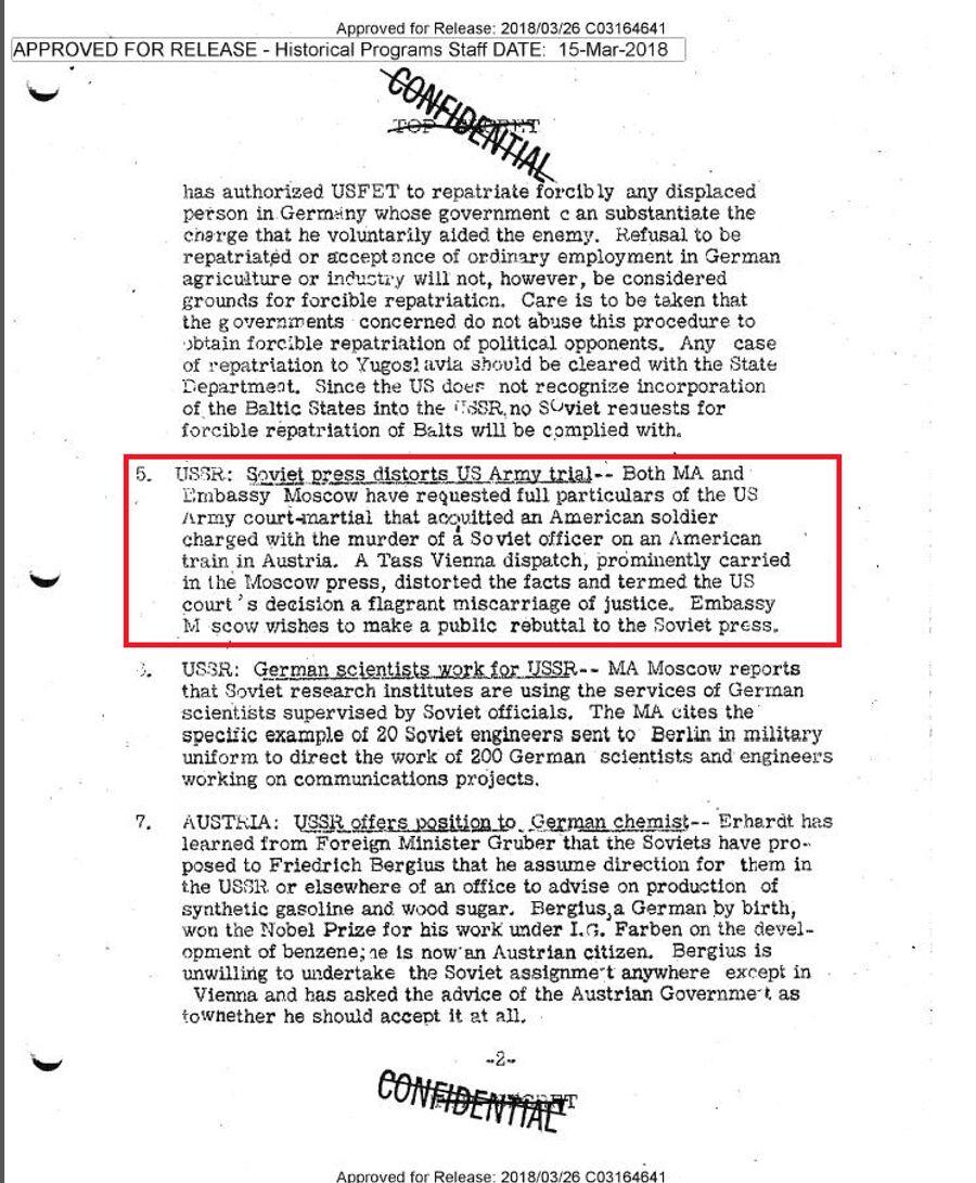 Подпись: Сводка донесений разведки для президента США Гарри Трумэна от 1 марта 1946 года, в которой говорится о том, что советские СМИ исказили  материалы суда над американским военнослужащим, убившим советского солдата