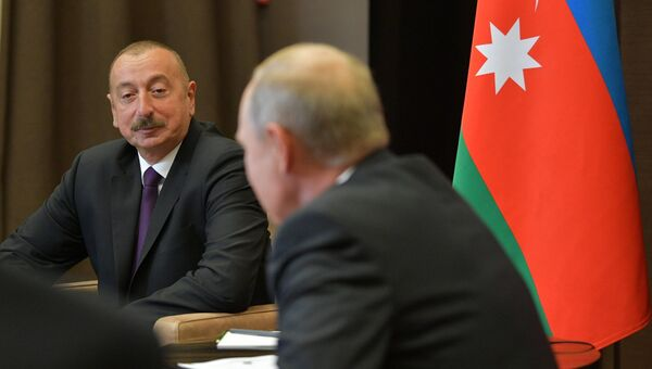Президент РФ Владимир Путин и президент Азербайджана Ильхам Алиев во время встречи. 1 сентября 2018