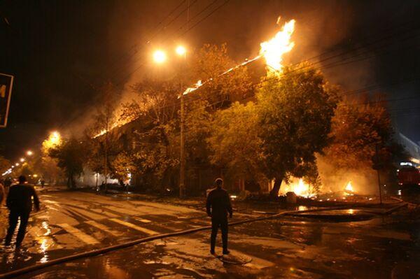 Пожар в жилом доме в Новосибирске