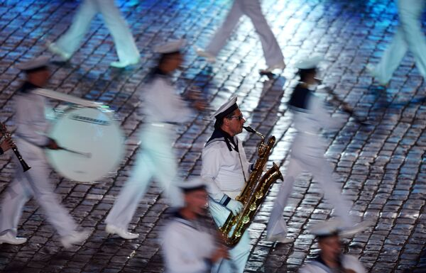 Выступление Центрального оркестра имени Римского-Корсакова ВМФ России на закрытии XI Международного военно-музыкального фестиваля Спасская башня