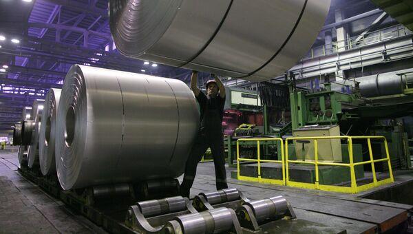 Производство фольги на заводе Русал Саянал в в Саяногорске, Республика Хакасия