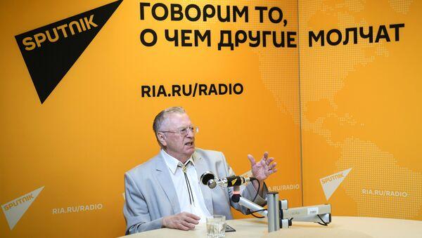 Лидер ЛДПР Владимир Жириновский во время интервью в студии радио Sputnik в Москве