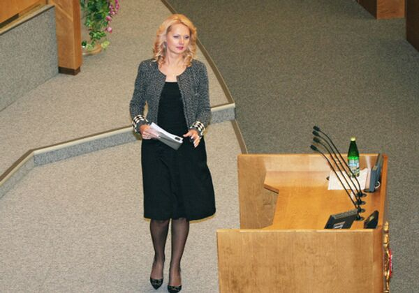 Министр здравоохранения и социального развития РФ Татьяна Голикова во время выступления на заседании Государственной Думы России