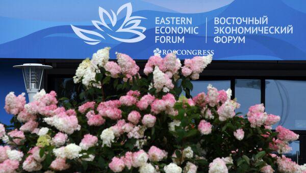 Баннер с символикой Восточного экономического форума