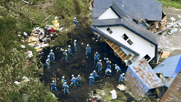 Ликвидация последствий землетрясения в городе Ацума префектуры Хоккайдо в Японии. 7 сентября 2018