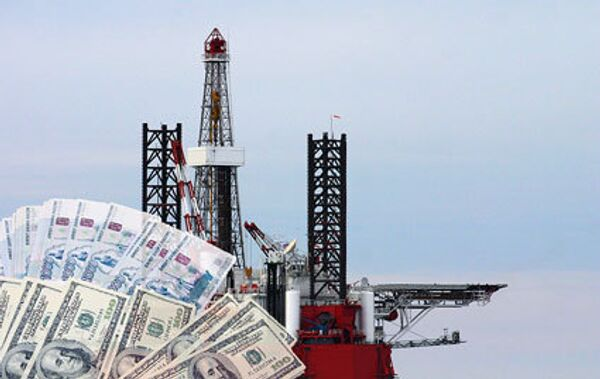Деньги, станция для добычи нефти. Коллаж