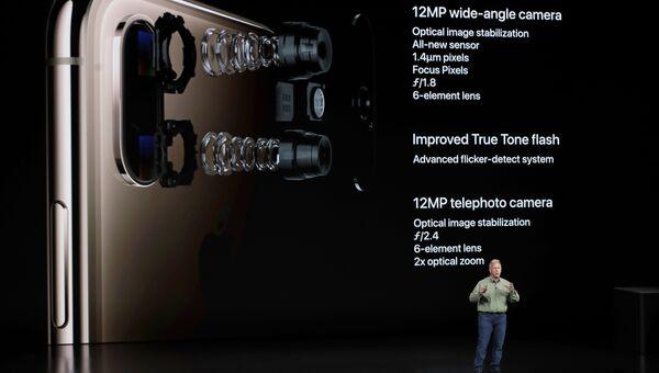 Cтарший вице-президент Apple маркетингу Фил Шиллер, рассказывает о камере в Apple iPhone XS. 12 сентября 2018 года