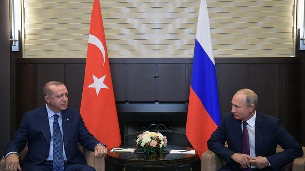 Владимир Путин и президент Турции Реджеп Тайип Эрдоган во время встречи в Сочи. Архивное фото