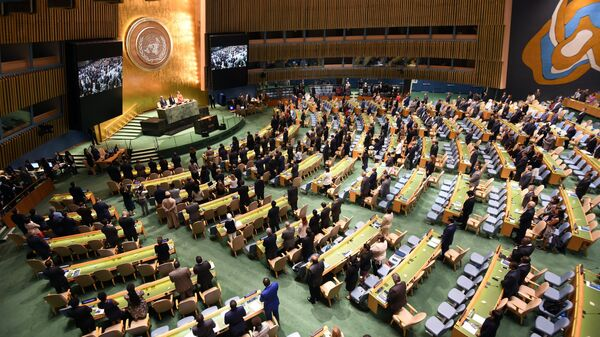 Открытие Генеральной Ассамблеи Организации Объединенных Наций в Нью-Йорке. Архивное фото