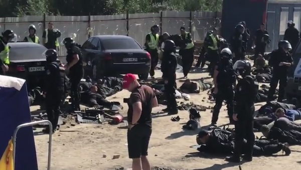 Столкновения с полицией на территории экопарка Осокорки в Киеве, Украина. 22 сентября 2018