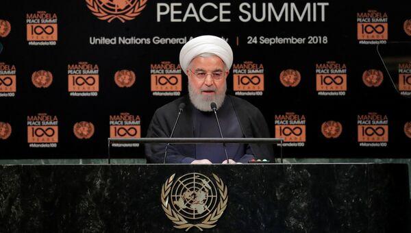 Президент Ирана Хасан Роухани выступает во время 73-ей сессии Генассамблеи ООН в Нью-Йорке. 24 сентября 2018