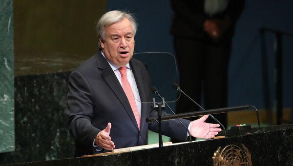 Генеральный секретарь ООН Антониу Гутерреш на открытии Генеральной ассамблеи в Нью-Йорке. 25 сентября 2018