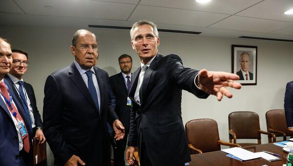 МИД РФ Сергей Лавров во время встречи с Генеральным секретарем НАТО Йенсом Столтенбергом на Генассамблее ООН в Нью-Йорке. 25 сентября 2018
