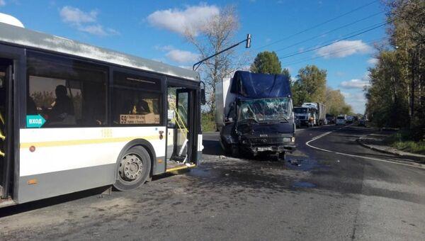 ДТП с автобусом и газелью в городском округе Домодедово, Московской области. 26 сентября 2018