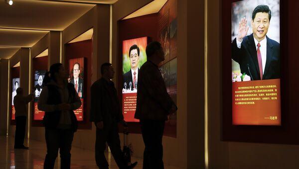 Потртрет председателя КНР Си Цзиньпиня и его предшественников на этом посту в военно-историческом музее в Пекине, Китай. Архивное фото