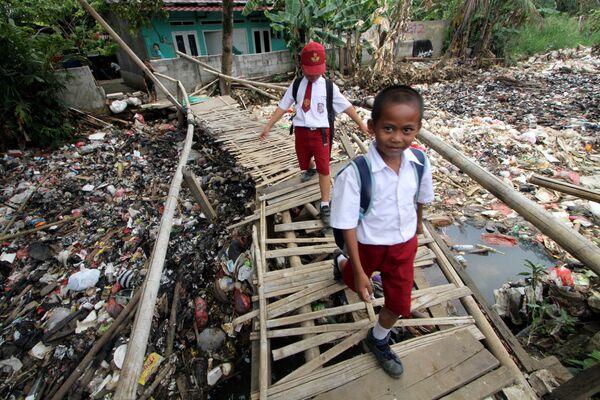 Школьники переходят бамбуковый мост через реку Чиливунг в Индонезии
