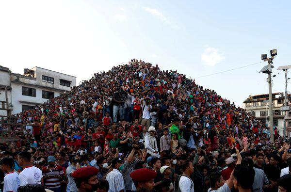Празднование фестиваля Индра Джатра в Катманду, Непал