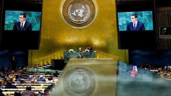 Премьер-министр Испании Педро Санчес во время выступления на 73-й сессии Генеральной ассамблеи ООН в Нью-Йорке. 27 сентября 2018