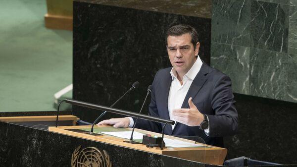 Премьер-министр Греции Алексис Ципрас во время выступления на Генеральной Ассамблее ООН в Нью-Йорке. 28 сентября 2018