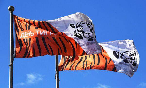Флаги с символикой Дня тигра во Владивостоке