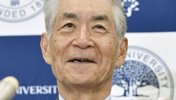 Японский ученый-иммунолог Тасуко Хондзе на пресс-конференции после присуждения Нобелевской премии  по медицине за 2018 год. 1 октября 2018