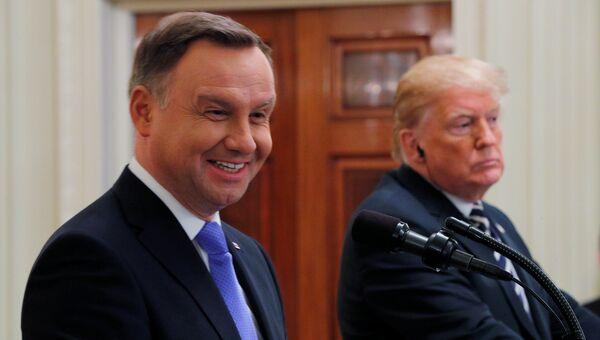 Президент Польши Анджей Дуда и президент США Дональд Трамп во время пресс-конференции в Вашингтоне. 18 сентября 2018