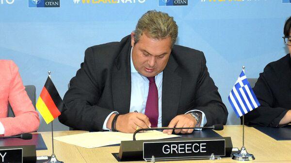 Министр обороны Греции Панос Камменос на встрече министров обороны стран НАТО в Брюсселе. 4 октября 2018