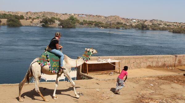 Местный житель катает туристку вдоль Нила на верблюде