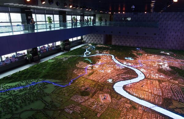 Макет города Ханчжоу в выставочном зале городского муниципалитета