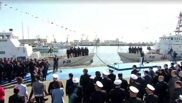 Церемония передачи двух американских сторожевых катеров класса Island министерству внутренних дел Грузии. Архивное фото