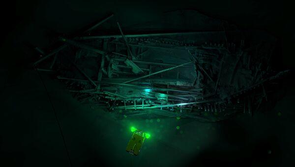 Изображение, пролежавшего на дне Черного моря коробля, созданное с помощью техники 3D-съемки