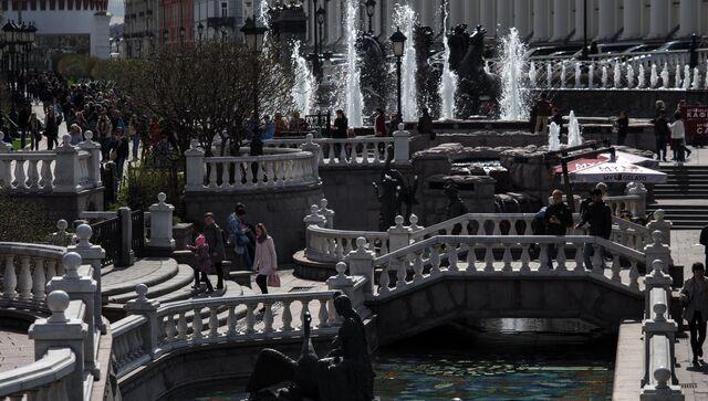 Фонтан Времена года на Манежной площади в Москве.