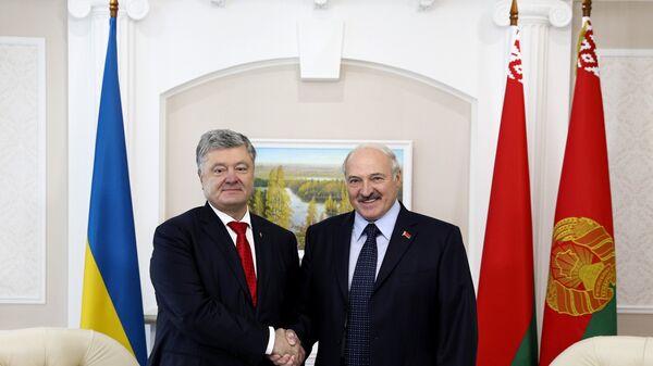 Президент Белоруссии Александр Лукашенко во время встречи с президентом Украины Петром Порошенко.