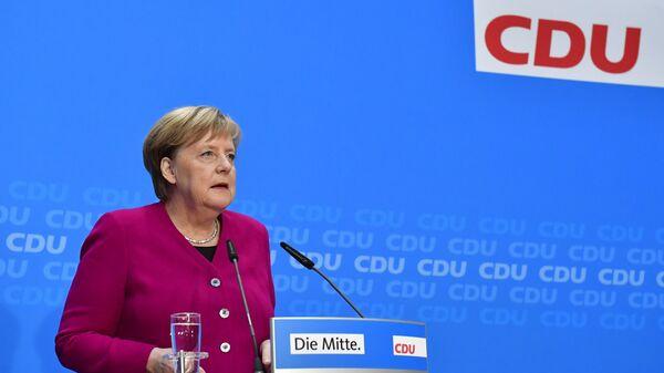 Канцлер Германии Ангела Меркель на пресс-конференции в Берлине, Германия. 29 октября 2018