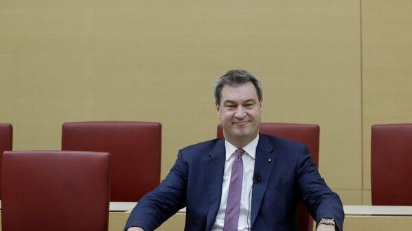 Маркус Зодер в Баварском парламенте после того как он вновь избран премьер-министром Баварии. 6 ноября 2018