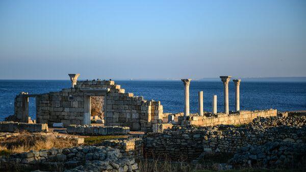 Фрагмент национального заповедника Херсонес Таврический - руины древнего города Херсонес