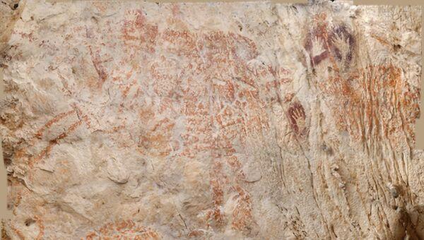 Изображение самого древнего наскального рисунка животного внутри пещеры в Борнео, Индонезия