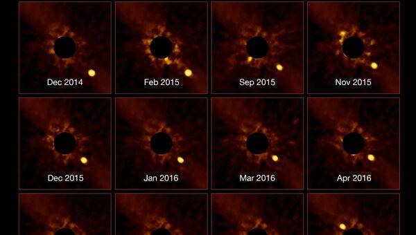 Кадры, полученные инструментом NACO при наблюдениях за движением планеты Бета Живописца b