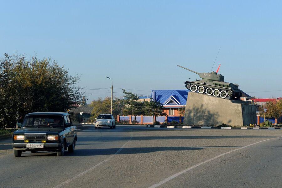 Танк Т-34 Кущевский колхозник в станице Кущевская Краснодарского края
