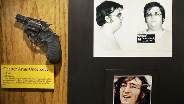 Оружие Марка Дэвида Чепмена, используемое в убийстве Джона Леннонав в музее Отдела судебных расследований Департамента полиции Нью-Йорка. Архивное фото