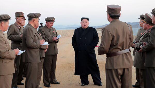 Лидер КНДР Ким Чен Ын во время испытаний нового тактического оружия. Архивное фото