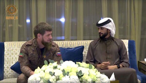 Главы Чеченской Республики Рамзан Кадыров и принц Королевства Бахрейн шейх Насер бин Хамад Аль Халифа во время встречи. 17 ноября 2018