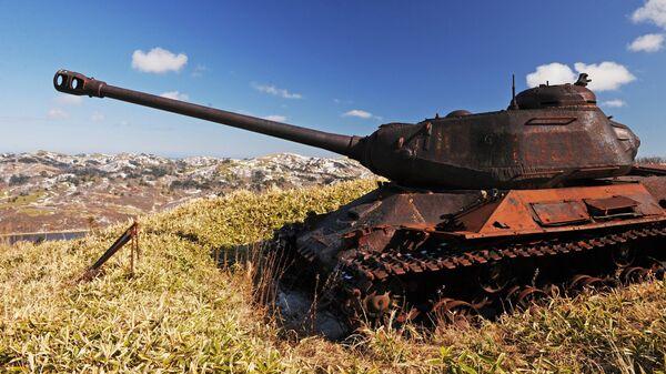 Танк ИС-2 на острове Шикотан Сахалинской области
