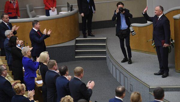 Президент Молдавии Игорь Додон на пленарном заседании Государственно думы РФ. 21 ноября 2018