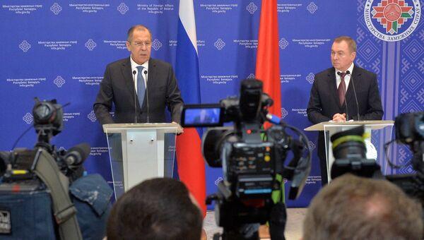 Министр иностранных дел России Сергей Лавров и министр иностранных дел Белоруссии Владимир Макей в Минске