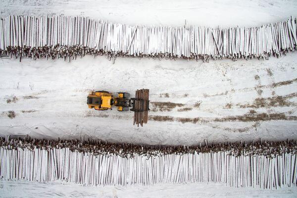 Склад сырья лесопромышленного комплекса АО Краслесинвест