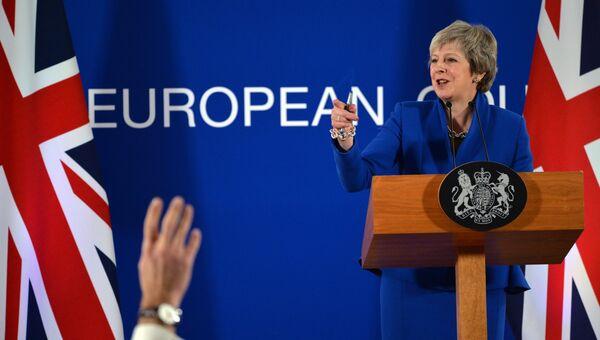 Премьер-министр Великобритании Тереза Мэй выступает на пресс-конференции в Брюсселе. 25 ноября 2018